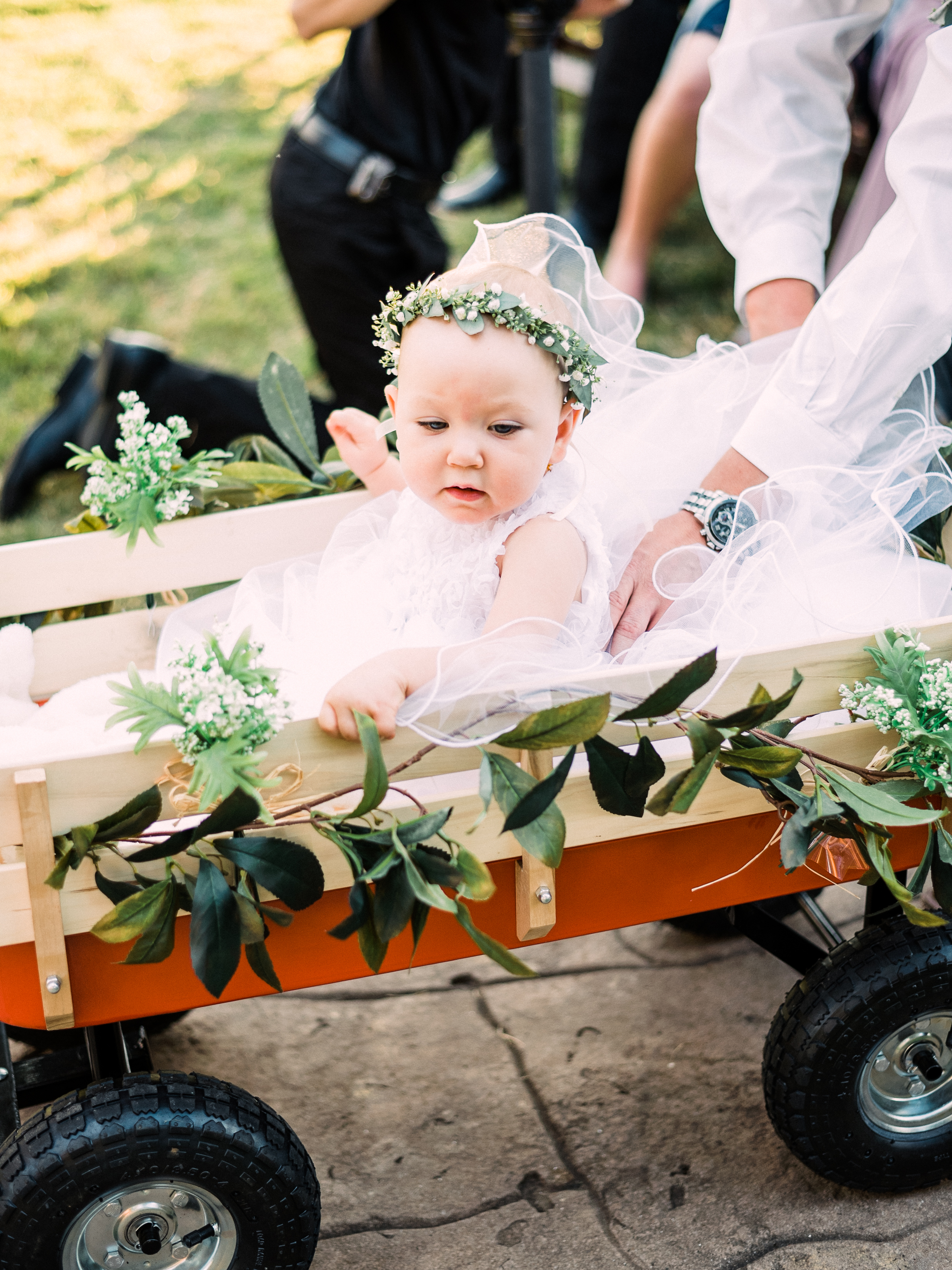 A baby flower girl rides in a red wagon down the aisle at a sunny wedding ceremony in Georgetown, Texas.